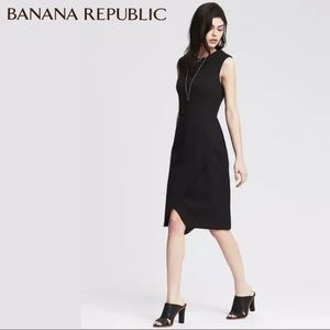 Banana Republic Black Sloan Cross-Front Sheath NWT